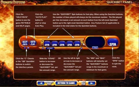 Dragon's Inferno :: Quickbet Panel layout and description