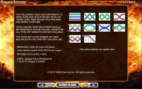 Dragon's Inferno :: Payline diagrams 1 to 20 and general game rules.