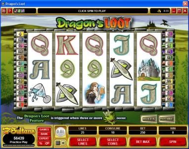 Play slots at CKcasino: CKcasino featuring the video-Slots Dragon's Loot with a maximum payout of $20,000