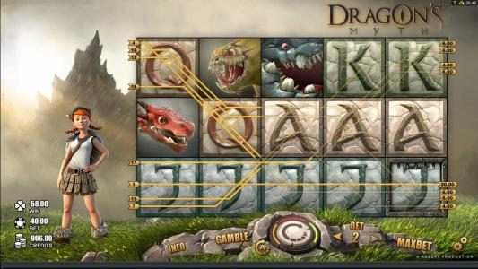 Intercasino featuring the Video Slots Dragon's Myth with a maximum payout of $50,000