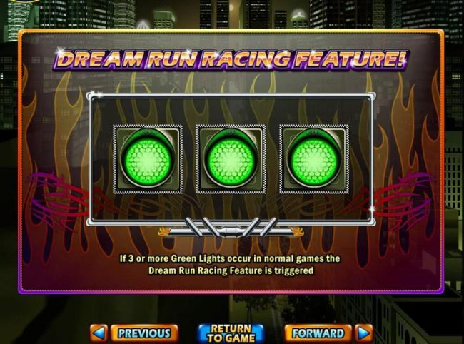 If three or more Green Lights occur in normal games the Dream Run Racing Feature is triggered.