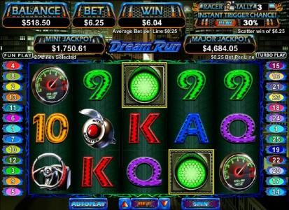 Aladdins Gold featuring the Video Slots Dream Run with a maximum payout of $250,000
