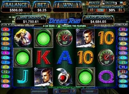 Red Dog featuring the Video Slots Dream Run with a maximum payout of $250,000