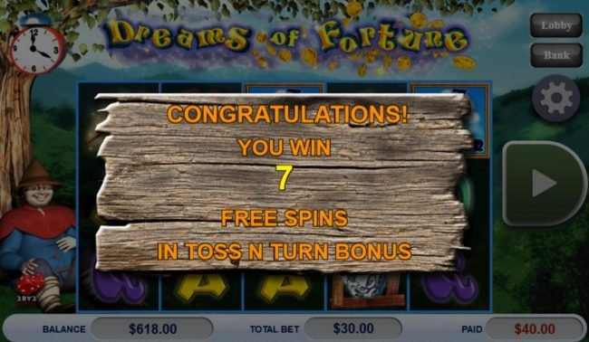 Casino Cruise featuring the Video Slots Dreams of Fortune with a maximum payout of $121,500