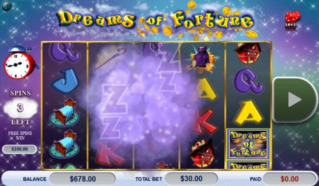 Miami Dice featuring the Video Slots Dreams of Fortune with a maximum payout of $121,500