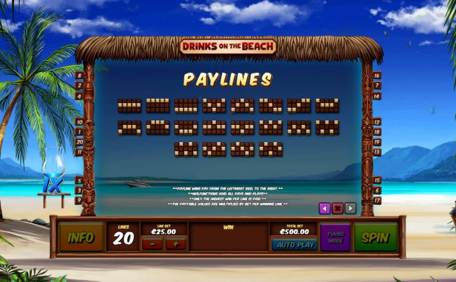 Casino.com featuring the Video Slots Drinks on the Beach with a maximum payout of $250,000