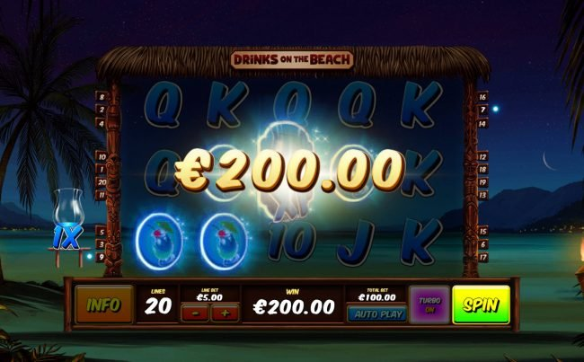 Club Vulkan featuring the Video Slots Drinks on the Beach with a maximum payout of $250,000