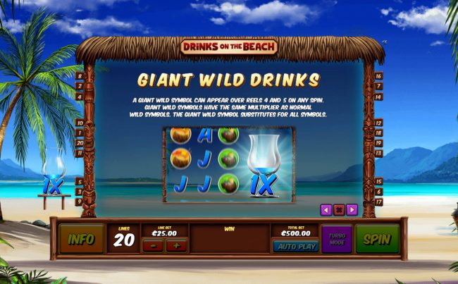 Tropez featuring the Video Slots Drinks on the Beach with a maximum payout of $250,000