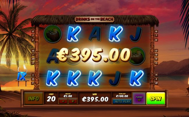 Winner Online featuring the Video Slots Drinks on the Beach with a maximum payout of $250,000