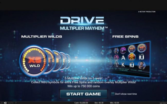Trada featuring the Video Slots Drive Multiplier Mayhem with a maximum payout of $3,750,000