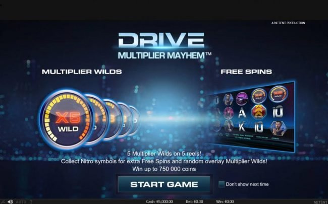 Play slots at Spinzilla: Spinzilla featuring the Video Slots Drive Multiplier Mayhem with a maximum payout of $3,750,000