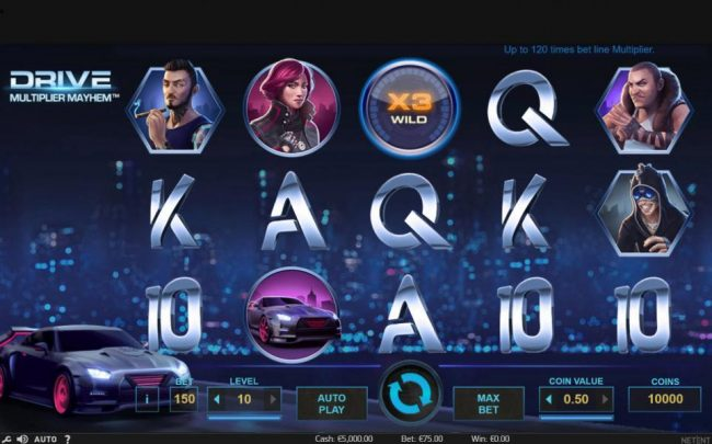 Hello featuring the Video Slots Drive Multiplier Mayhem with a maximum payout of $3,750,000