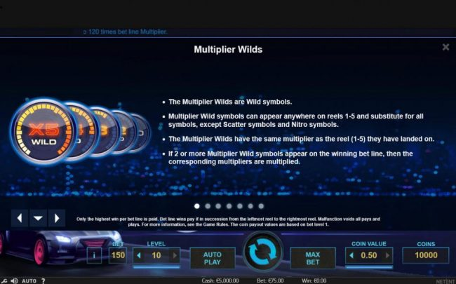 Lucky Me Slots featuring the Video Slots Drive Multiplier Mayhem with a maximum payout of $3,750,000