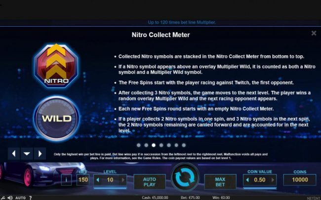 Wixstars featuring the Video Slots Drive Multiplier Mayhem with a maximum payout of $3,750,000