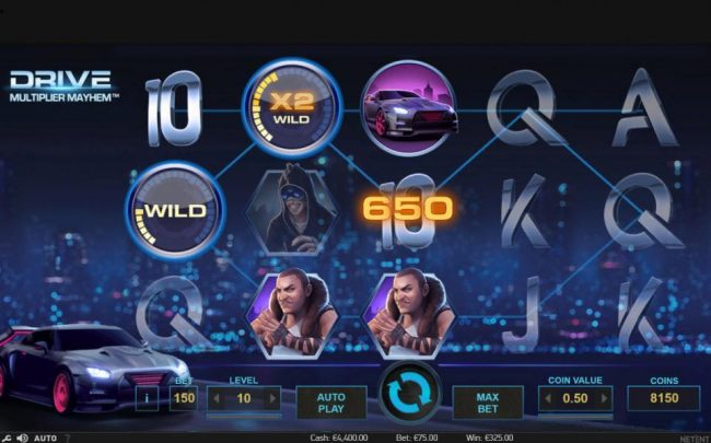 Napoli featuring the Video Slots Drive Multiplier Mayhem with a maximum payout of $3,750,000