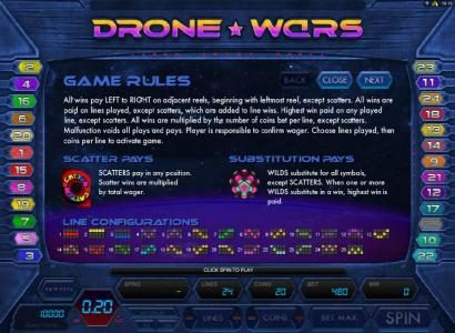 Conquer featuring the Video Slots Drone Wars with a maximum payout of $4,000