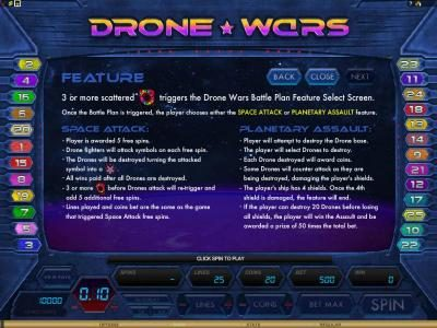 Fortune Room featuring the Video Slots Drone Wars with a maximum payout of $4,000