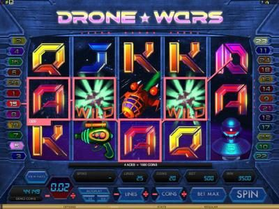 Drone Wars :: here is an example of a 3500 coin multiline jackpot