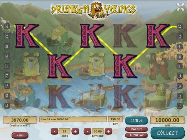 Royale24 featuring the Video Slots Drunken Vikings with a maximum payout of $500,000