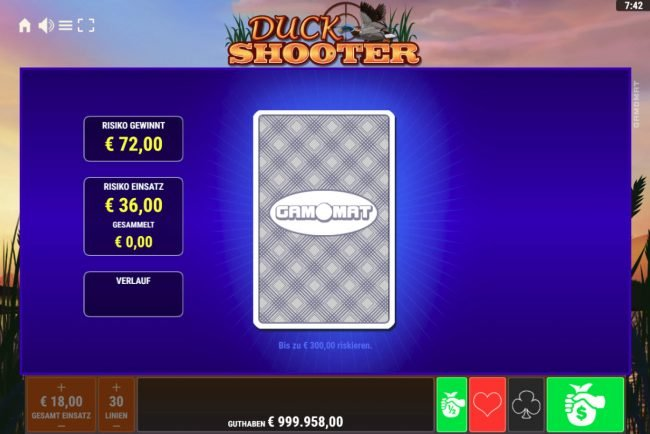 Duck Shooter :: Red or Black Gamble feature