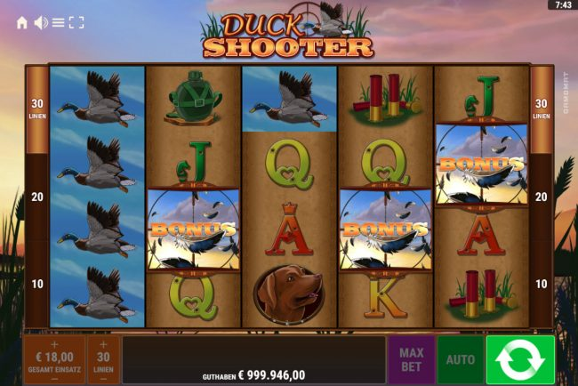 Duck Shooter :: Scatter win triggers the free spins feature