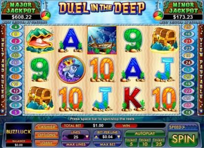 Play slots at Slot Madness: Slot Madness featuring the Video Slots Duel in the Deep with a maximum payout of $5,000
