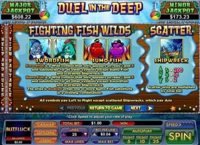 BuzzLuck featuring the Video Slots Duel in the Deep with a maximum payout of $5,000