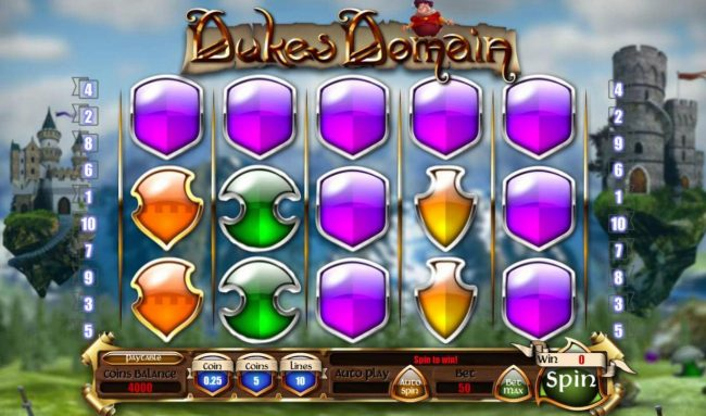 Dukes Domain :: Main game board featuring five reels and 10 paylines with a $10,000 max payout.