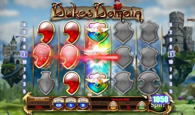 Dukes Domain :: Stacked wilds triggers multiple winning paylines