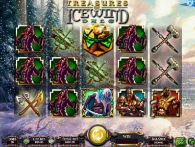 Dungeons & Dragons - Treasure of Icewind Dale :: main agme board featuring five reels and thrity paylines