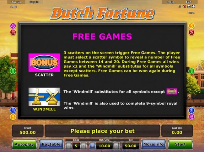 Free Games Rules - 3 scatters on the screen trigger Free Games.