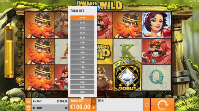 Sin Spins featuring the Video Slots Dwarfs Gone Wild with a maximum payout of $120,000