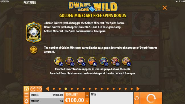 Casino-X featuring the Video Slots Dwarfs Gone Wild with a maximum payout of $120,000