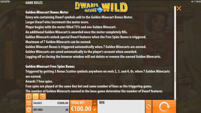 BGO Vegas featuring the Video Slots Dwarfs Gone Wild with a maximum payout of $120,000