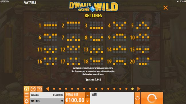 Spinrider featuring the Video Slots Dwarfs Gone Wild with a maximum payout of $120,000