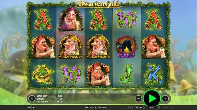 Play slots at Tangiers: Tangiers featuring the Video Slots Dwarven Gold with a maximum payout of $2,500