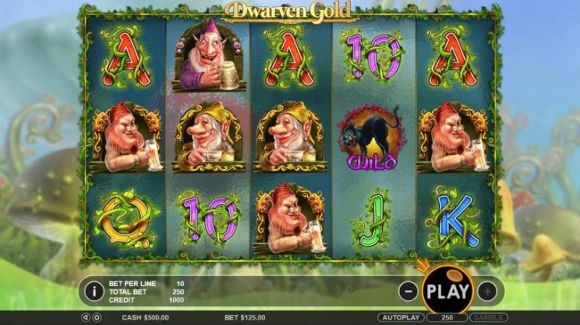 Casino States featuring the Video Slots Dwarven Gold with a maximum payout of $2,500