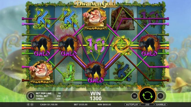 Mr Green featuring the Video Slots Dwarven Gold with a maximum payout of $2,500