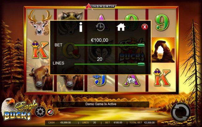 Eagle Bucks :: Click on the GEAR button to adjust the coin value played.