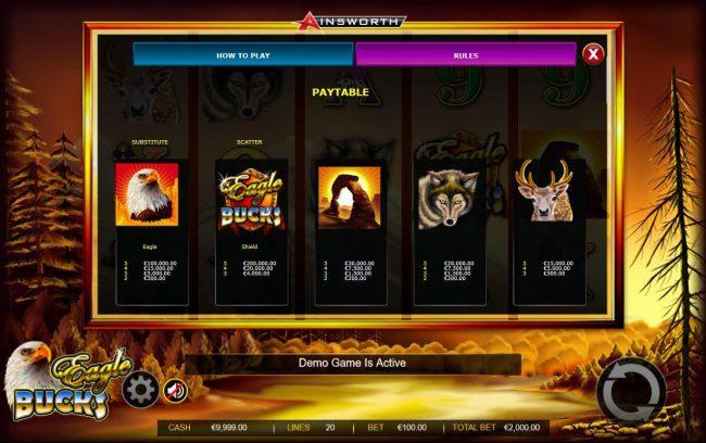 Eagle Bucks :: High value slot game symbols paytable