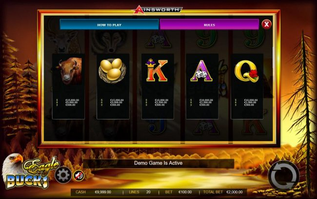 Eagle Bucks :: Medium Value Slot Game  Symbols Paytable.