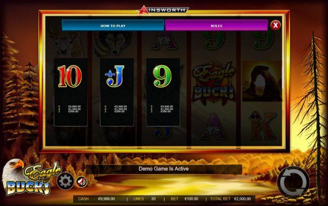 Eagle Bucks :: Low value game symbols paytable