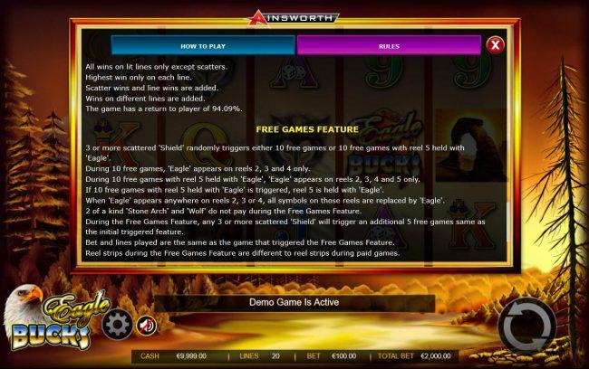 Eagle Bucks :: Free Games Bonus Rules