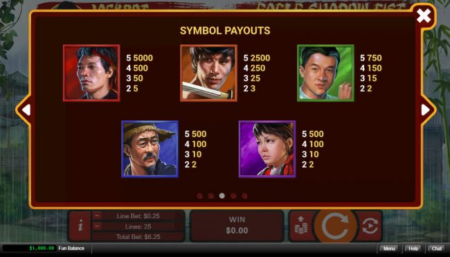 Slots.com featuring the Video Slots Eagle Shadow Fist with a maximum payout of $50,000
