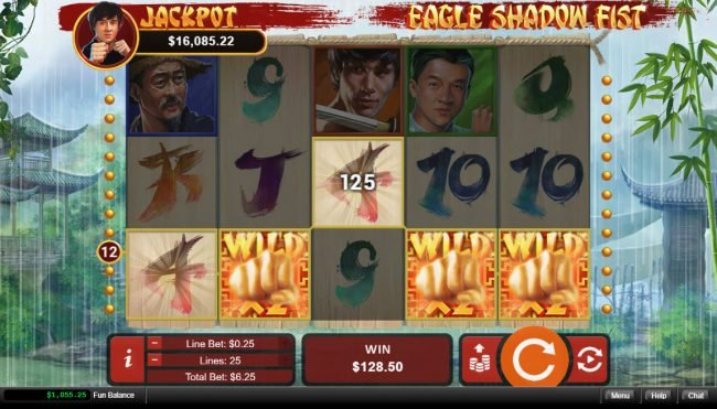 99 Slot Machines featuring the Video Slots Eagle Shadow Fist with a maximum payout of $50,000