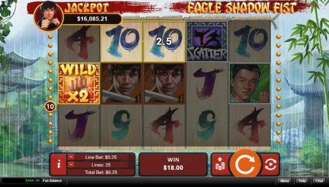 Royal Ace featuring the Video Slots Eagle Shadow Fist with a maximum payout of $50,000