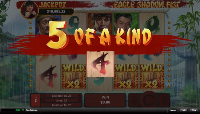 Diamond Reels featuring the Video Slots Eagle Shadow Fist with a maximum payout of $50,000