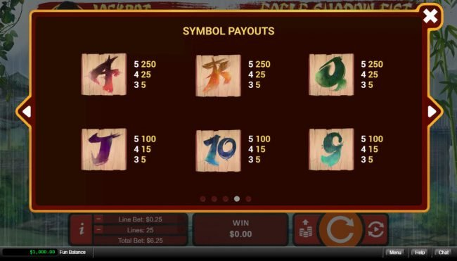 Plenty Jackpots featuring the Video Slots Eagle Shadow Fist with a maximum payout of $50,000