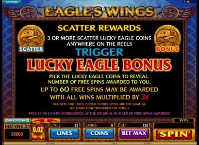 House of Jack featuring the Video Slots Eagle's Wings with a maximum payout of $1,250