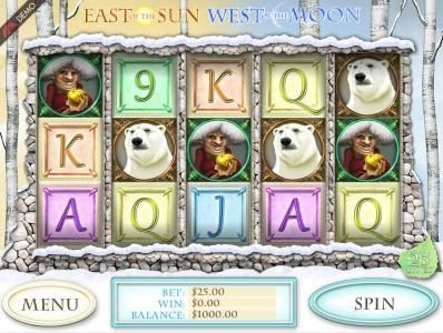East of the Sun West of the Moon :: Main game board featuring five reels and 25 paylines with a $2,000 max payout